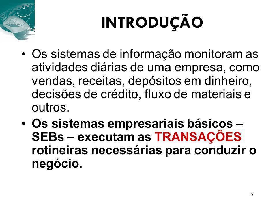 5 INTRODUÇÃO Os sistemas de informação monitoram as atividades diárias de uma empresa, como vendas, receitas, depósitos em dinheiro, decisões de crédi