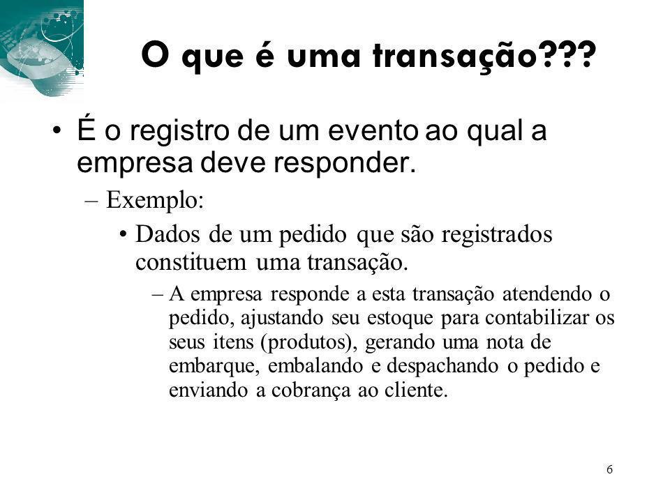 6 O que é uma transação??? É o registro de um evento ao qual a empresa deve responder. –Exemplo: Dados de um pedido que são registrados constituem uma
