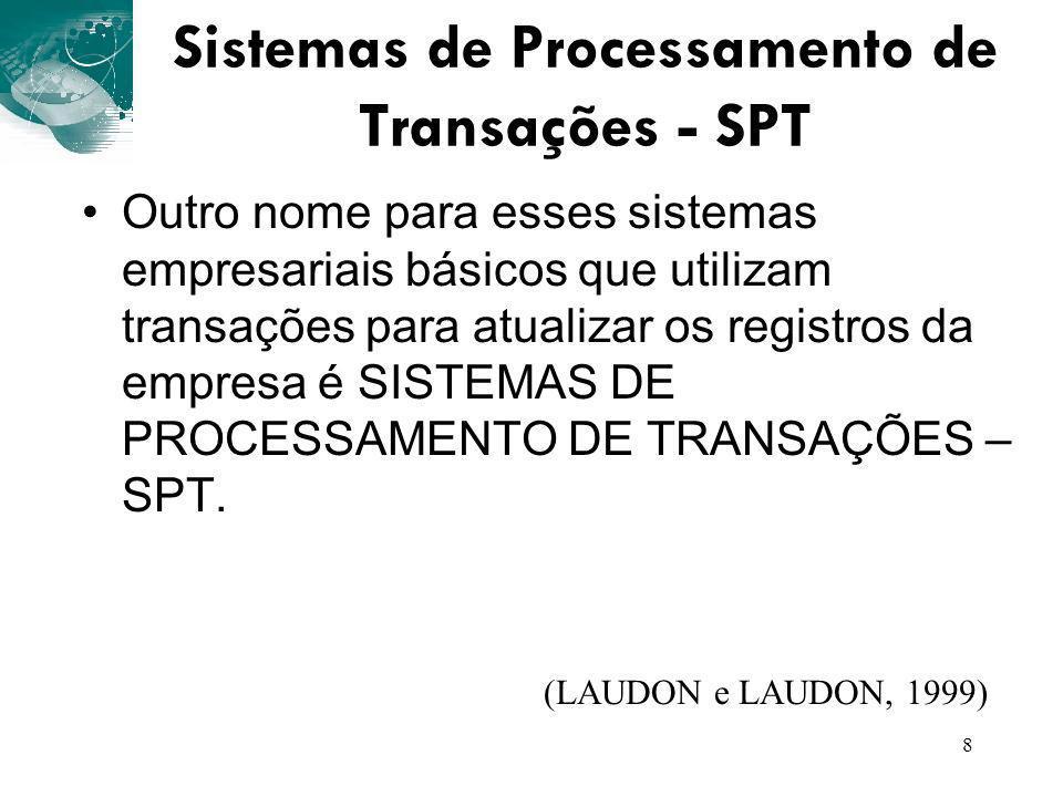 8 Sistemas de Processamento de Transações - SPT Outro nome para esses sistemas empresariais básicos que utilizam transações para atualizar os registro