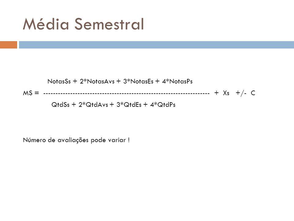 Média Semestral NotasSs + 2*NotasAvs + 3*NotasEs + 4*NotasPs MS = -------------------------------------------------------------------- + Xs +/- C QtdS