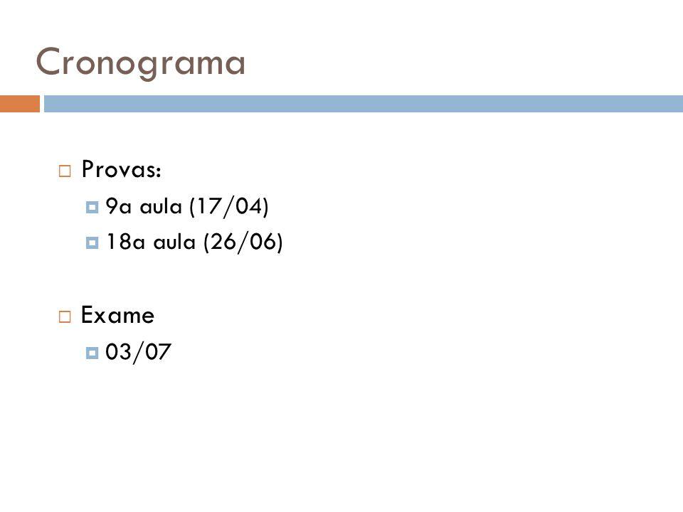 Cronograma Provas: 9a aula (17/04) 18a aula (26/06) Exame 03/07