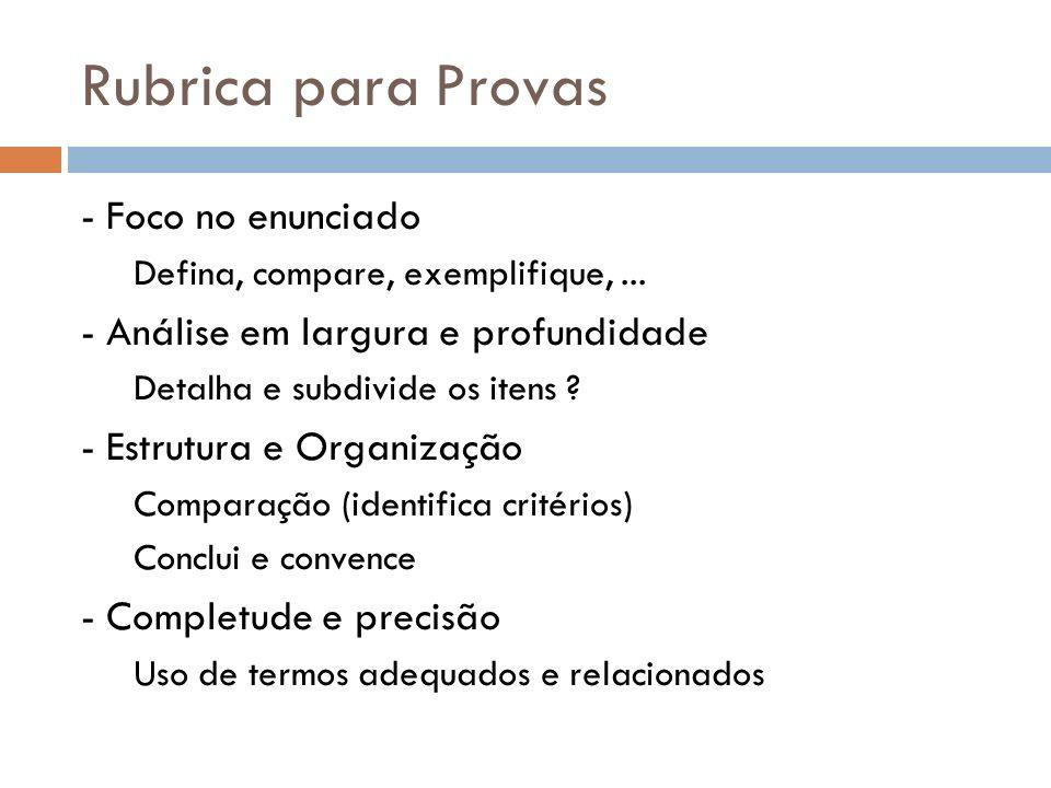 Rubrica para Provas - Foco no enunciado Defina, compare, exemplifique,... - Análise em largura e profundidade Detalha e subdivide os itens ? - Estrutu