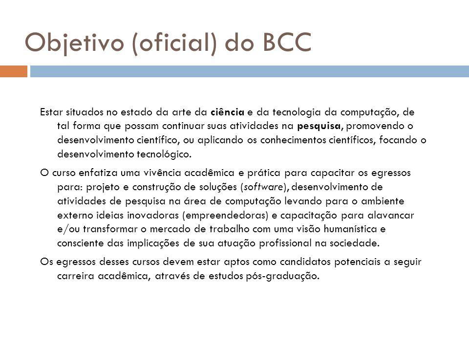 Objetivo (oficial) do BCC Estar situados no estado da arte da ciência e da tecnologia da computação, de tal forma que possam continuar suas atividades