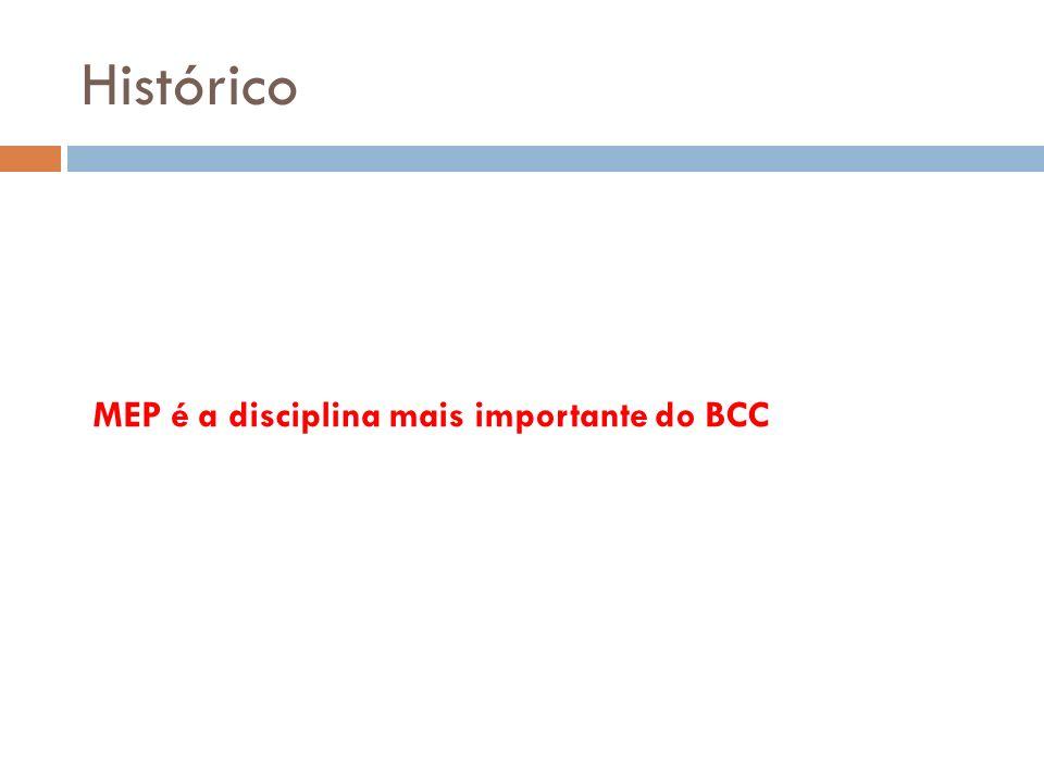 Histórico MEP é a disciplina mais importante do BCC