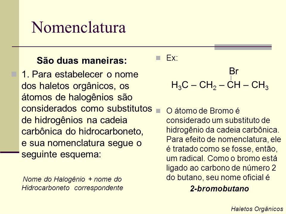 Nomenclatura São duas maneiras: 1. Para estabelecer o nome dos haletos orgânicos, os átomos de halogênios são considerados como substitutos de hidrogê