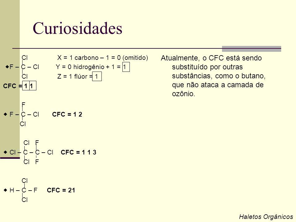 Curiosidades Cl X = 1 carbono – 1 = 0 (omitido) F – C – Cl Y = 0 hidrogênio + 1 = 1 Cl Z = 1 flúor = 1 CFC = 1 1 F F – C – Cl CFC = 1 2 Cl Cl F Cl – C