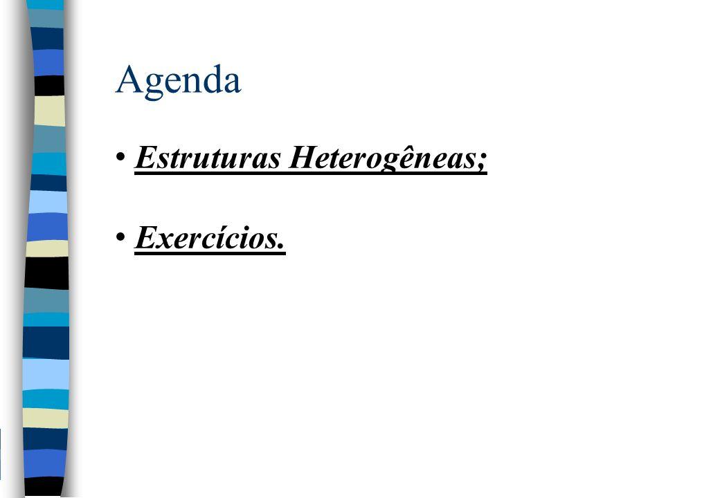 Agenda Estruturas Heterogêneas; Exercícios.