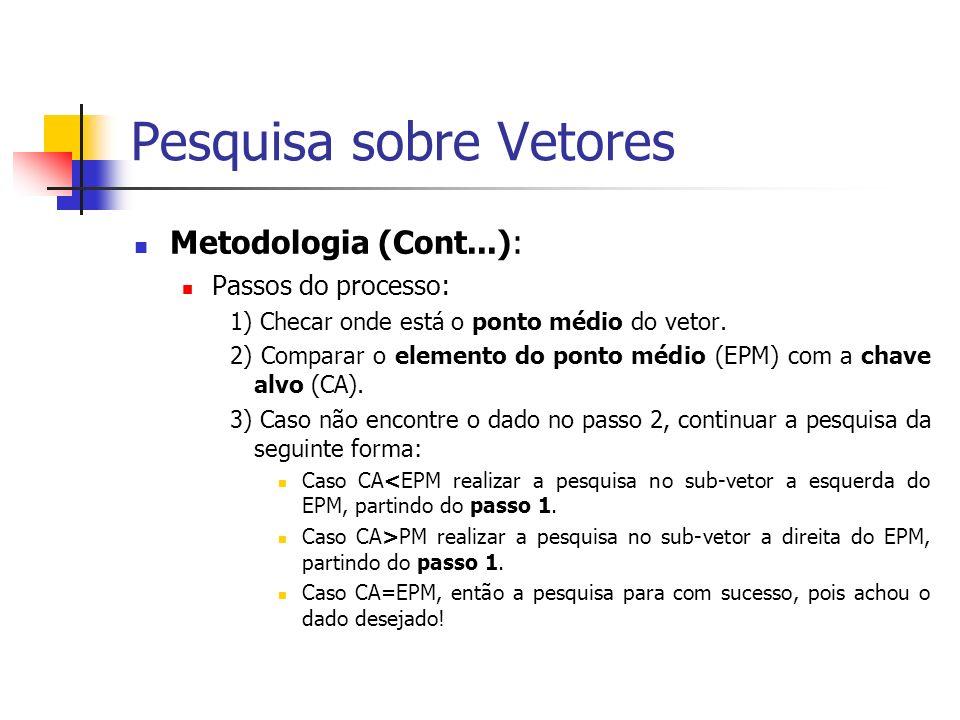 Exemplo de Pesquisa Binária Pergunta: Como verificar se o elemento 90 está presente no vetor acima.