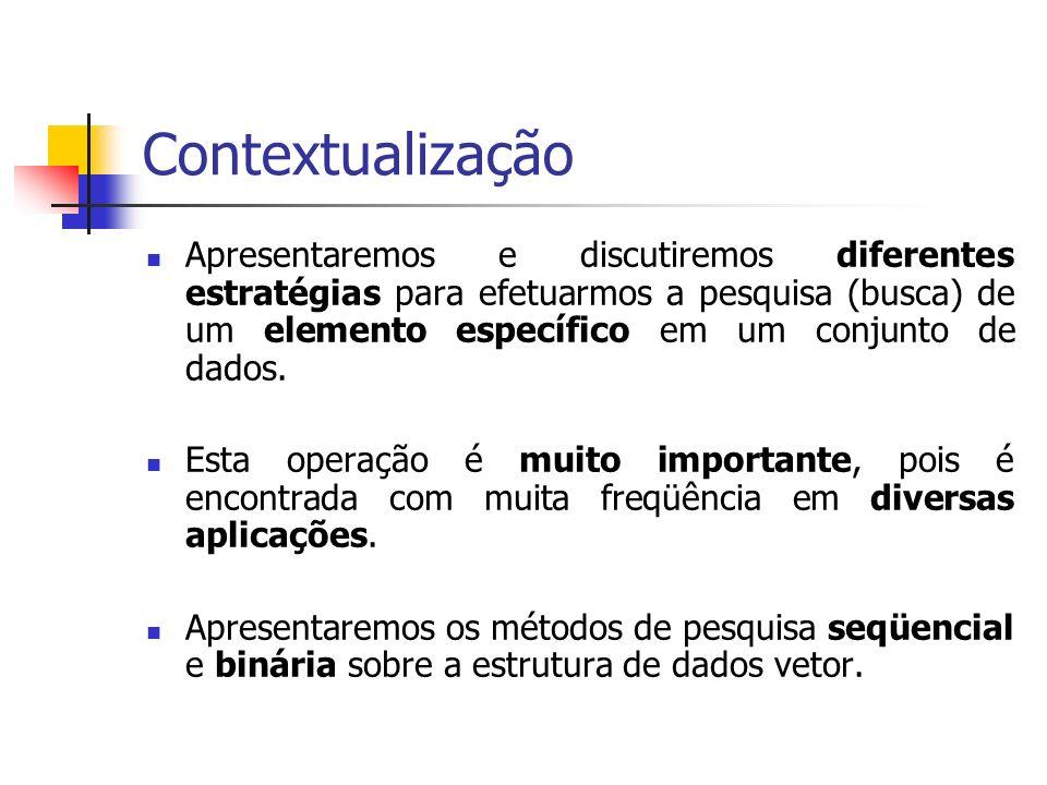 Roteiro Contextualização Pesquisa Seqüencial Pesquisa Binária