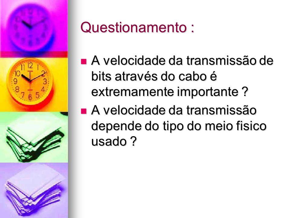 Questionamento : A velocidade da transmissão de bits através do cabo é extremamente importante ? A velocidade da transmissão de bits através do cabo é