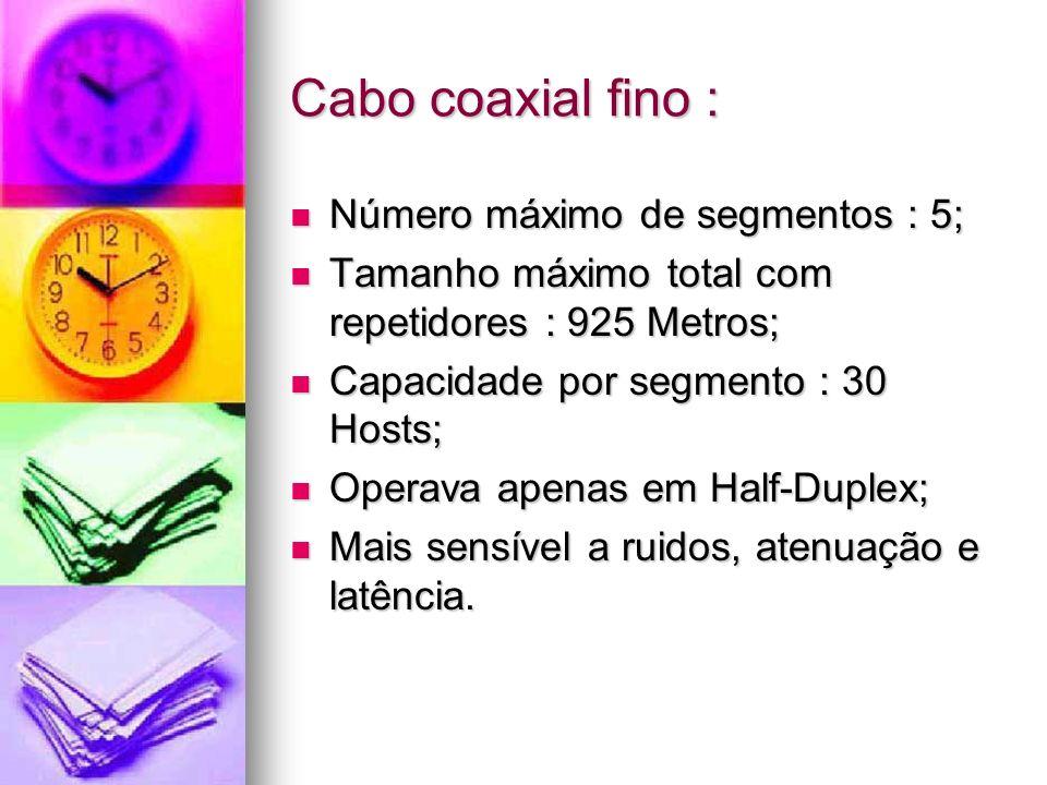 Cabo coaxial fino : Número máximo de segmentos : 5; Número máximo de segmentos : 5; Tamanho máximo total com repetidores : 925 Metros; Tamanho máximo