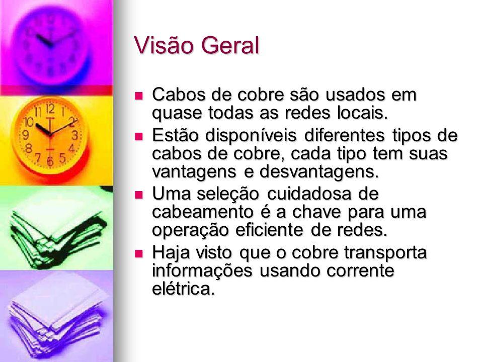 Visão Geral Cabos de cobre são usados em quase todas as redes locais. Cabos de cobre são usados em quase todas as redes locais. Estão disponíveis dife