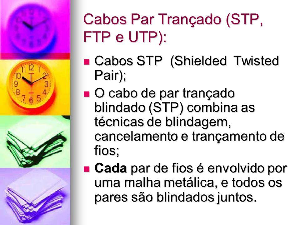 Cabos Par Trançado (STP, FTP e UTP): Cabos STP (Shielded Twisted Pair); Cabos STP (Shielded Twisted Pair); O cabo de par trançado blindado (STP) combi