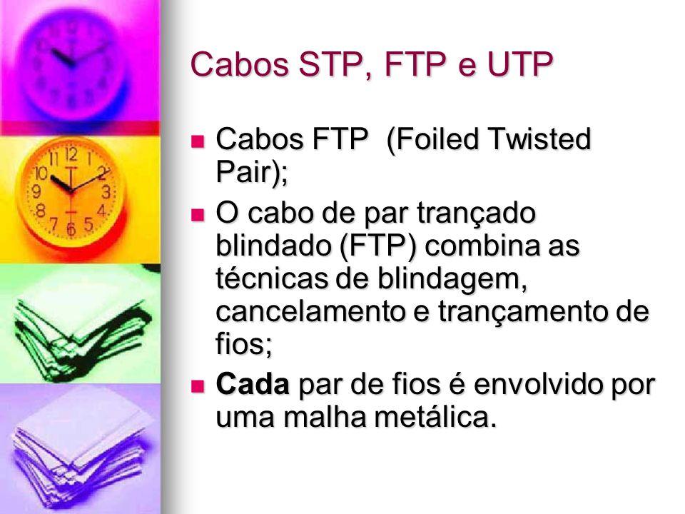Cabos STP, FTP e UTP Cabos FTP (Foiled Twisted Pair); Cabos FTP (Foiled Twisted Pair); O cabo de par trançado blindado (FTP) combina as técnicas de bl