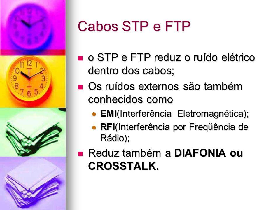 Cabos STP e FTP o STP e FTP reduz o ruído elétrico dentro dos cabos; o STP e FTP reduz o ruído elétrico dentro dos cabos; Os ruídos externos são també