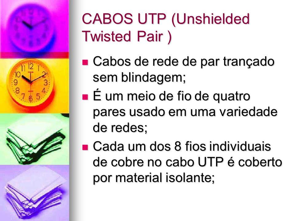 CABOS UTP (Unshielded Twisted Pair ) Cabos de rede de par trançado sem blindagem; Cabos de rede de par trançado sem blindagem; É um meio de fio de qua
