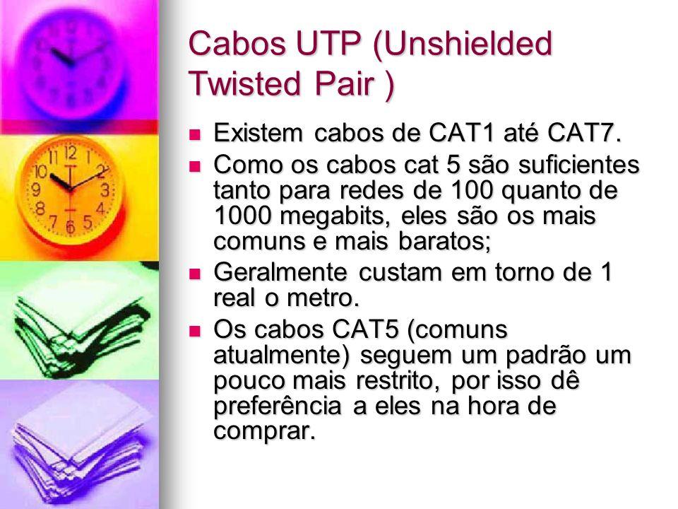 Cabos UTP (Unshielded Twisted Pair ) Existem cabos de CAT1 até CAT7. Existem cabos de CAT1 até CAT7. Como os cabos cat 5 são suficientes tanto para re