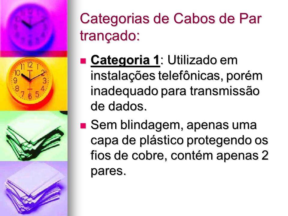 Categorias de Cabos de Par trançado: Categoria 1: Utilizado em instalações telefônicas, porém inadequado para transmissão de dados. Categoria 1: Utili