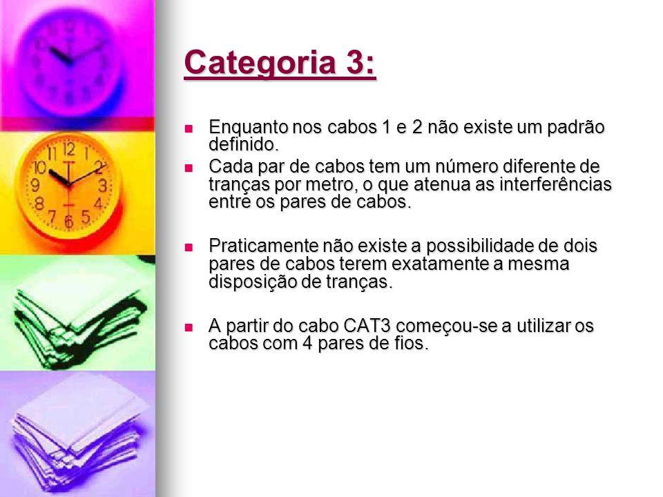 Categoria 3: Enquanto nos cabos 1 e 2 não existe um padrão definido. Enquanto nos cabos 1 e 2 não existe um padrão definido. Cada par de cabos tem um