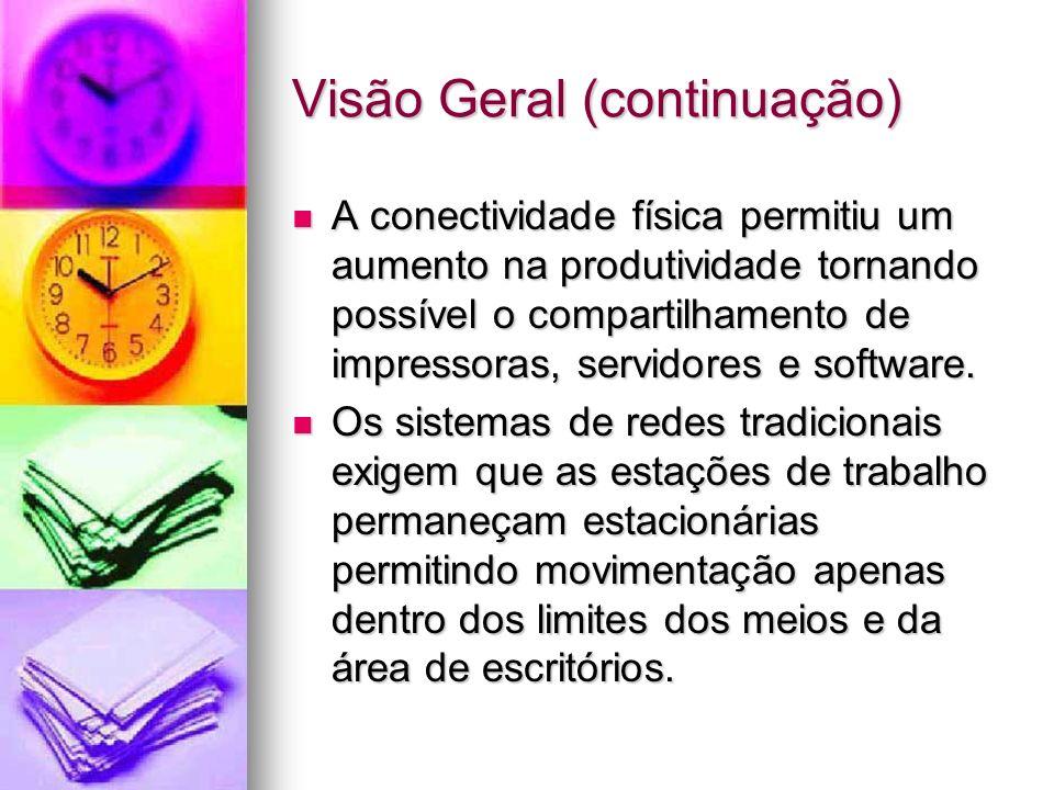 Visão Geral (continuação) A conectividade física permitiu um aumento na produtividade tornando possível o compartilhamento de impressoras, servidores