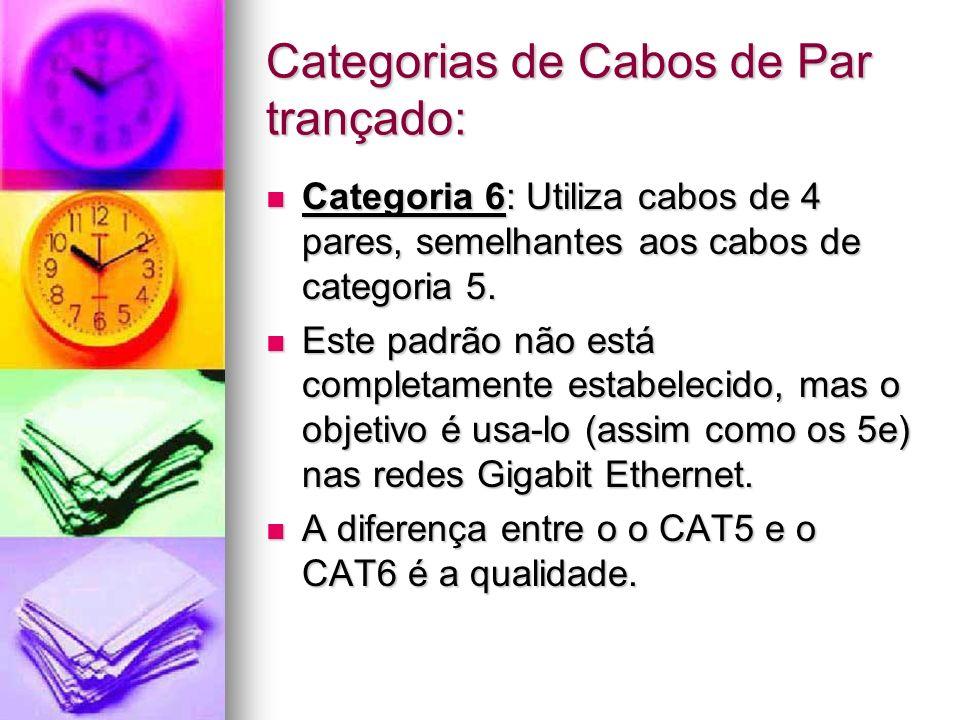 Categorias de Cabos de Par trançado: Categoria 6: Utiliza cabos de 4 pares, semelhantes aos cabos de categoria 5. Categoria 6: Utiliza cabos de 4 pare