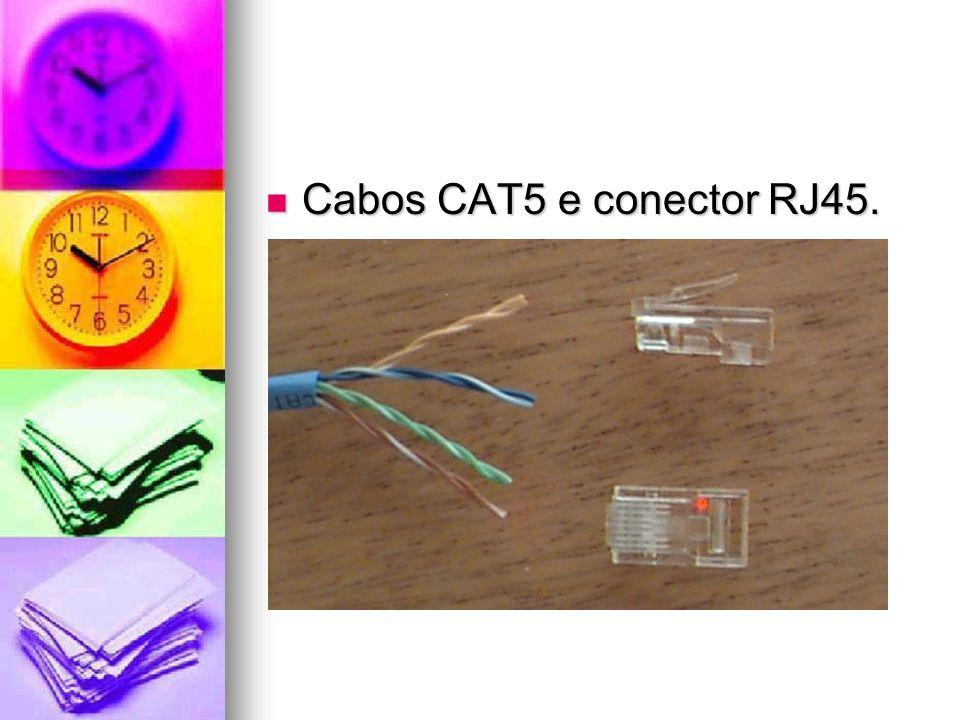 Cabos CAT5 e conector RJ45. Cabos CAT5 e conector RJ45.