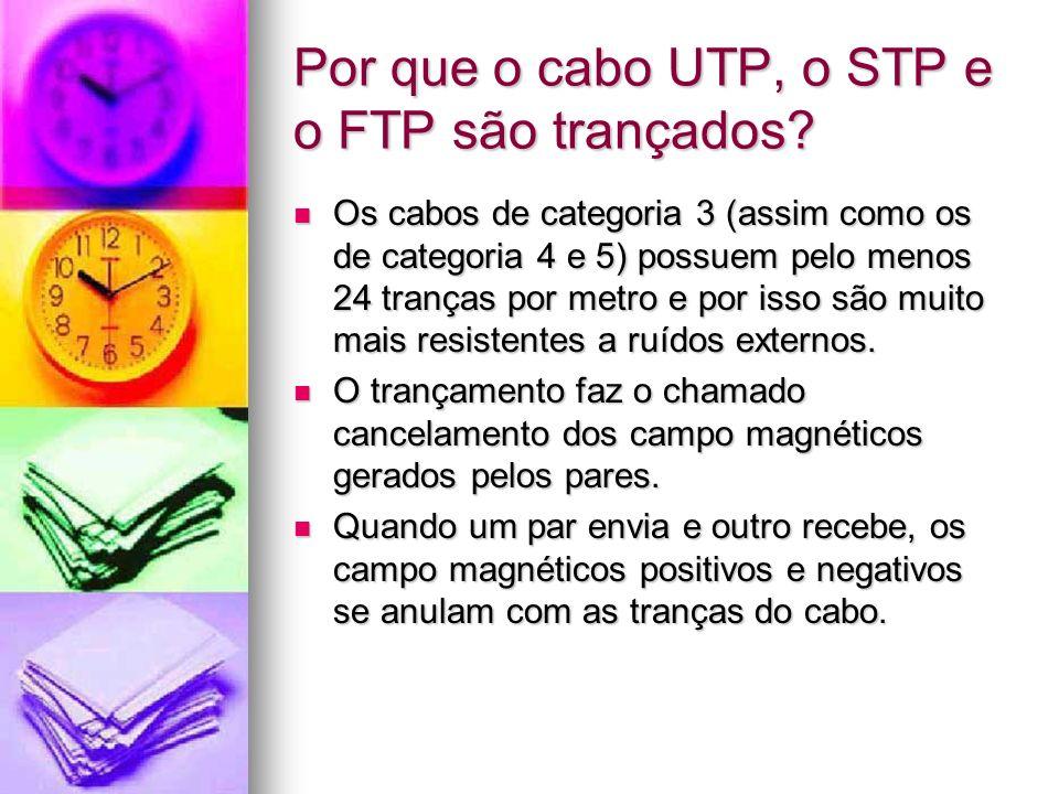 Por que o cabo UTP, o STP e o FTP são trançados? Os cabos de categoria 3 (assim como os de categoria 4 e 5) possuem pelo menos 24 tranças por metro e