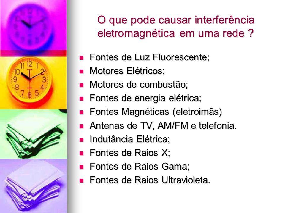 O que pode causar interferência eletromagnética em uma rede ? Fontes de Luz Fluorescente; Fontes de Luz Fluorescente; Motores Elétricos; Motores Elétr