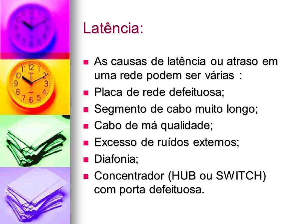 Latência: As causas de latência ou atraso em uma rede podem ser várias : As causas de latência ou atraso em uma rede podem ser várias : Placa de rede
