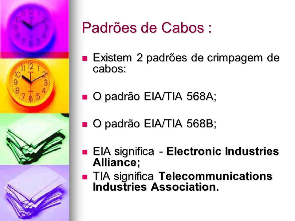 Padrões de Cabos : Existem 2 padrões de crimpagem de cabos: Existem 2 padrões de crimpagem de cabos: O padrão EIA/TIA 568A; O padrão EIA/TIA 568A; O p