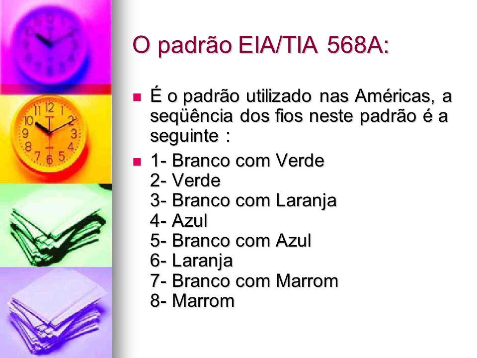 O padrão EIA/TIA 568A: É o padrão utilizado nas Américas, a seqüência dos fios neste padrão é a seguinte : É o padrão utilizado nas Américas, a seqüên