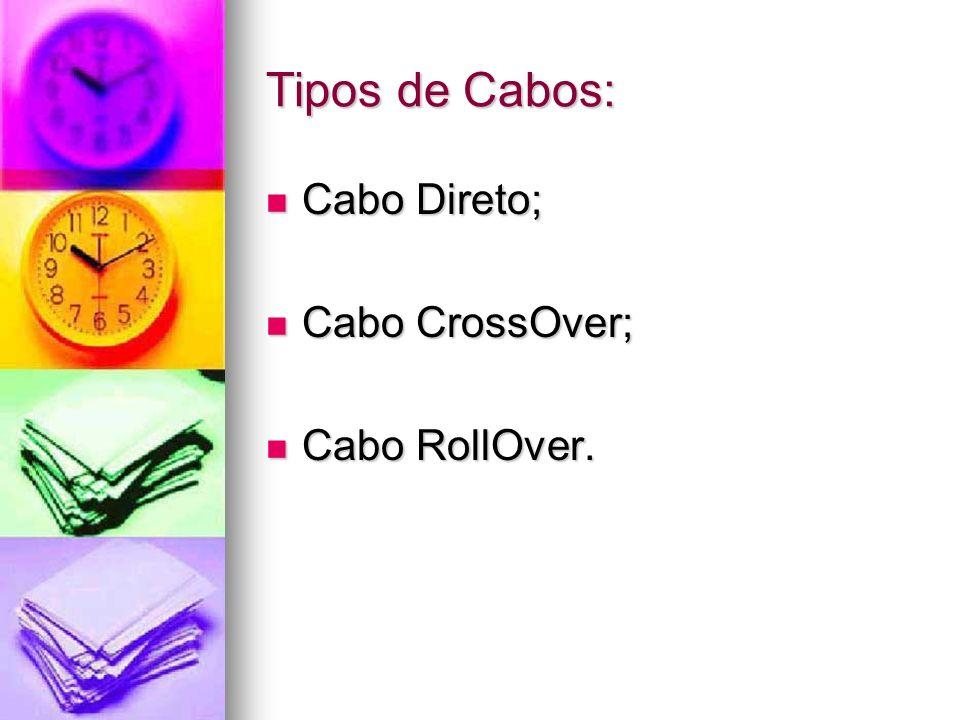 Tipos de Cabos: Cabo Direto; Cabo Direto; Cabo CrossOver; Cabo CrossOver; Cabo RollOver. Cabo RollOver.