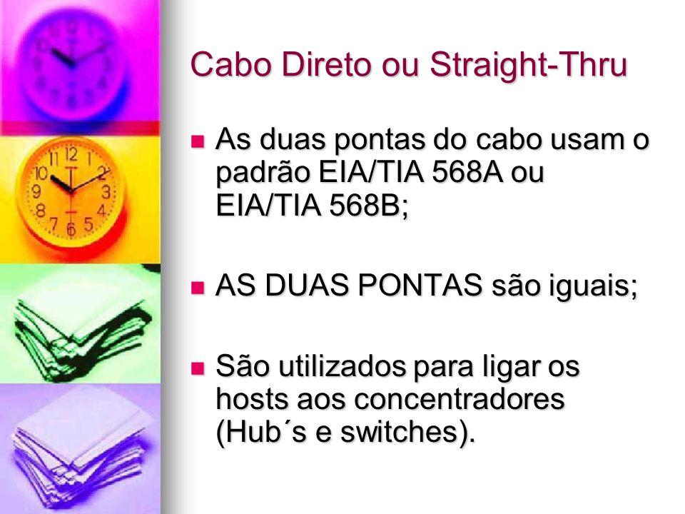 Cabo Direto ou Straight-Thru As duas pontas do cabo usam o padrão EIA/TIA 568A ou EIA/TIA 568B; As duas pontas do cabo usam o padrão EIA/TIA 568A ou E