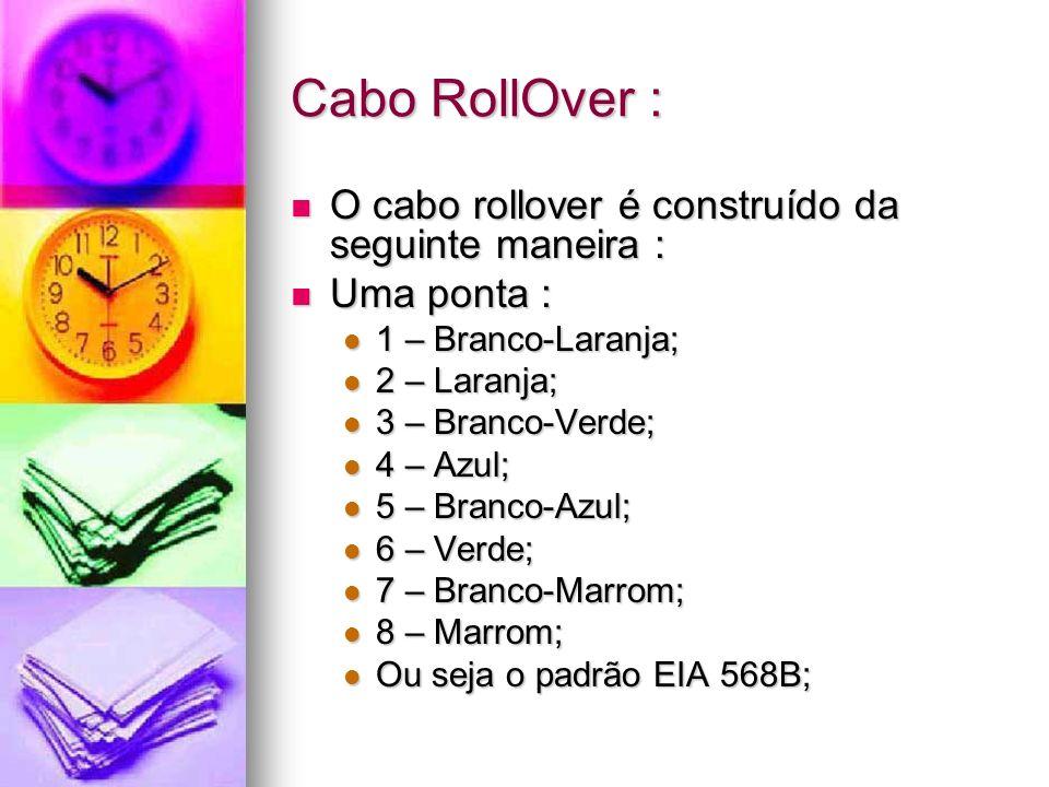 Cabo RollOver : O cabo rollover é construído da seguinte maneira : O cabo rollover é construído da seguinte maneira : Uma ponta : Uma ponta : 1 – Bran