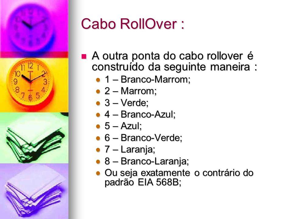 Cabo RollOver : A outra ponta do cabo rollover é construído da seguinte maneira : A outra ponta do cabo rollover é construído da seguinte maneira : 1