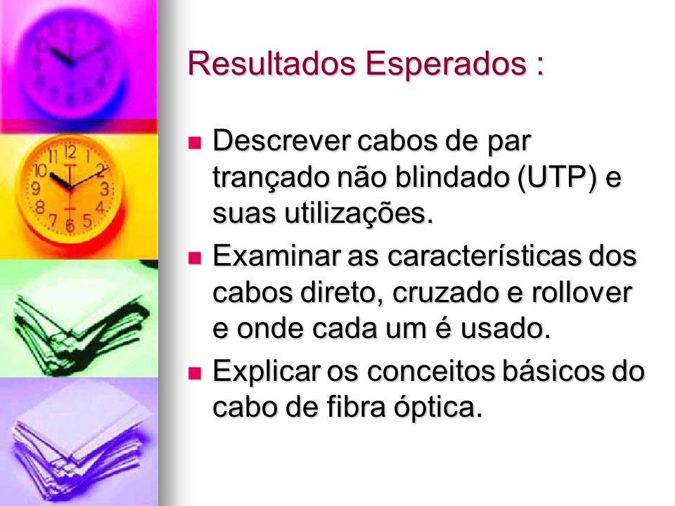 Resultados Esperados : Descrever cabos de par trançado não blindado (UTP) e suas utilizações. Descrever cabos de par trançado não blindado (UTP) e sua