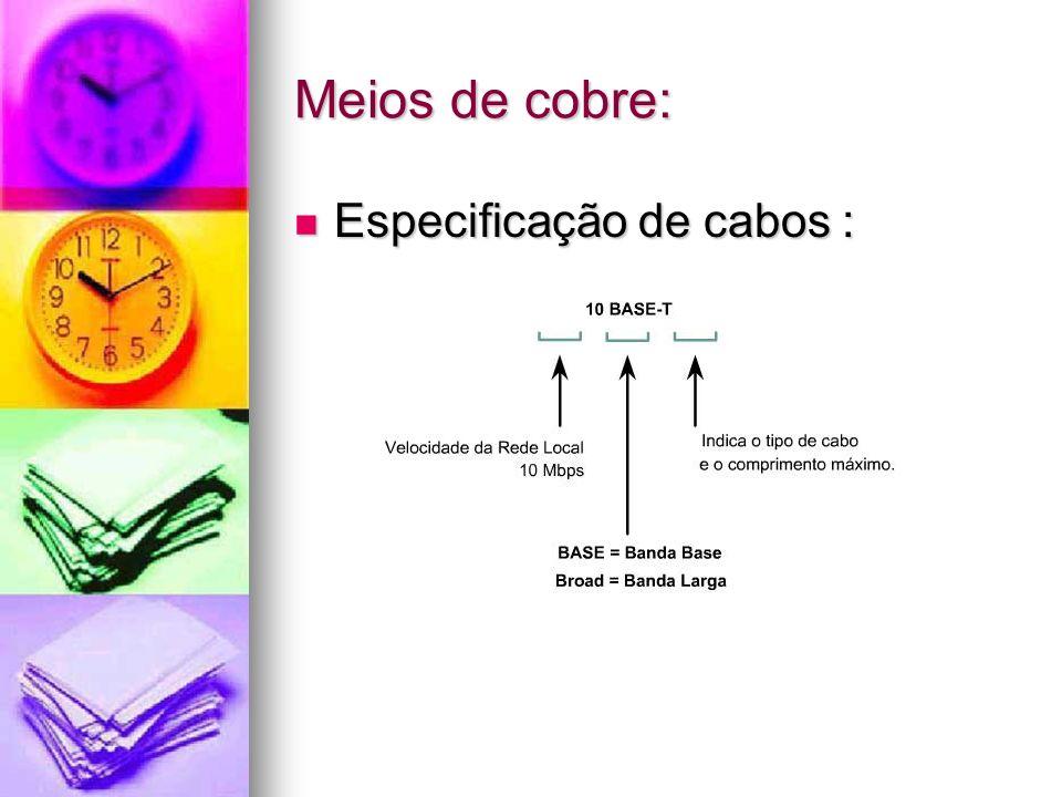 Meios de cobre: Especificação de cabos : Especificação de cabos :