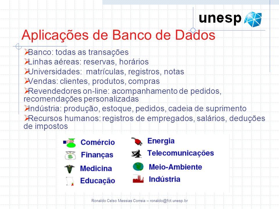 Ronaldo Celso Messias Correia – ronaldo@fct.unesp.br Aplicações de Banco de Dados Banco: todas as transações Linhas aéreas: reservas, horários Univers