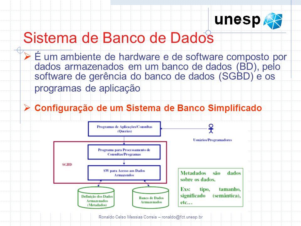 Ronaldo Celso Messias Correia – ronaldo@fct.unesp.br É um ambiente de hardware e de software composto por dados armazenados em um banco de dados (BD),