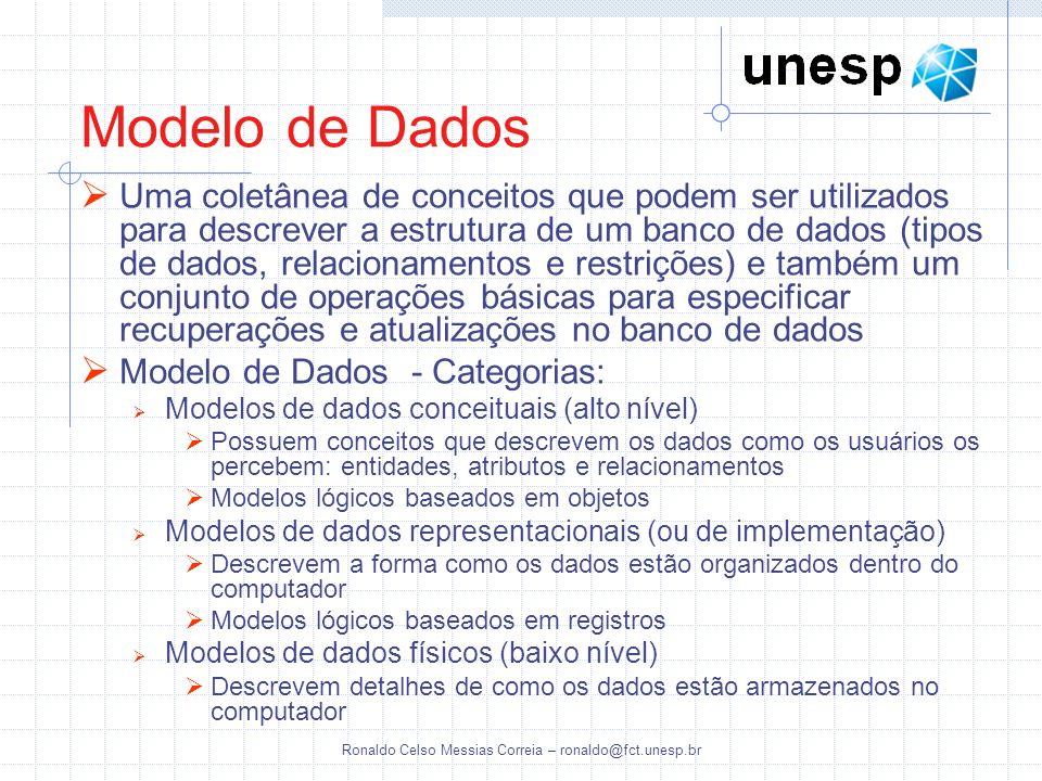Ronaldo Celso Messias Correia – ronaldo@fct.unesp.br Uma coletânea de conceitos que podem ser utilizados para descrever a estrutura de um banco de dad