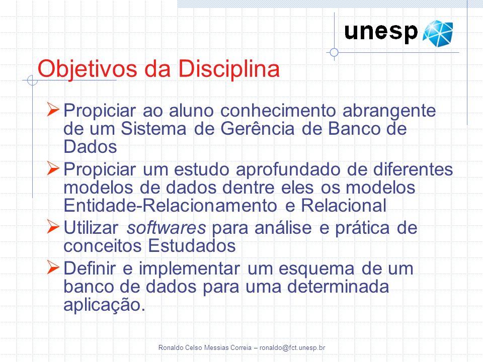 Ronaldo Celso Messias Correia – ronaldo@fct.unesp.br Avaliações Avaliação escrita englobando todo conteúdo programático Implementação de um projeto em um SGBD Relacional.
