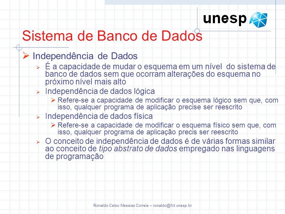 Ronaldo Celso Messias Correia – ronaldo@fct.unesp.br Independência de Dados É a capacidade de mudar o esquema em um nível do sistema de banco de dados