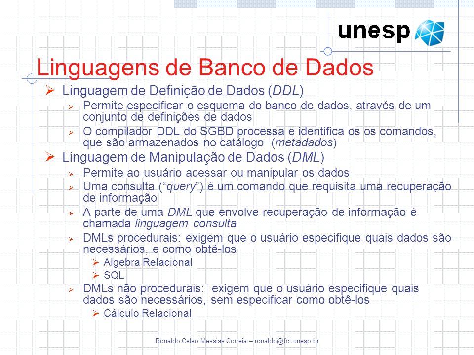 Ronaldo Celso Messias Correia – ronaldo@fct.unesp.br Linguagens de Banco de Dados Linguagem de Definição de Dados (DDL) Permite especificar o esquema