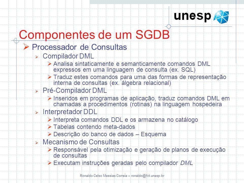 Ronaldo Celso Messias Correia – ronaldo@fct.unesp.br Componentes de um SGDB Processador de Consultas Compilador DML Analisa sintaticamente e semantica