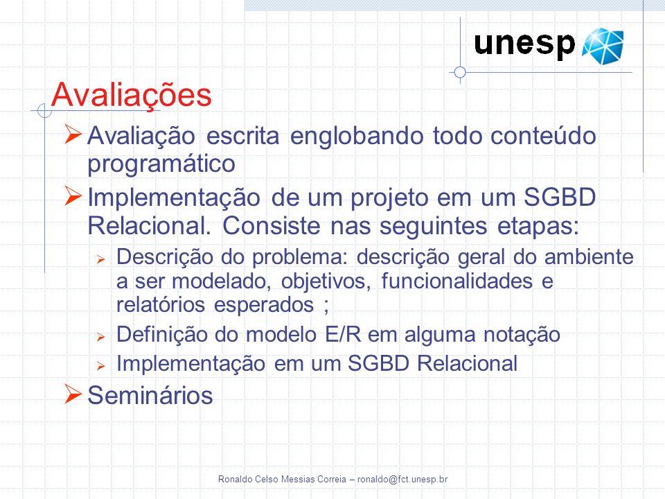 Ronaldo Celso Messias Correia – ronaldo@fct.unesp.br Avaliações - Critérios As notas de todas as atividades irão variar de 0 (zero) a 10,0 (dez) As notas das atividades em grupo serão atribuídas individualmente A média final será calculada da seguinte maneira: MF = (Mb1 + Mb2)/2 Mbn = (Pbn * Coefn) Coefn = 0,8 + (0,4 * NTn / 10) Onde: MF = Média Final Mb = Média Bimestral Coefn = Coeficiente multiplicativo, que varia de 0,8 a 1,2.