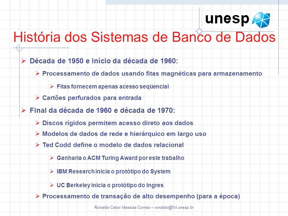 Ronaldo Celso Messias Correia – ronaldo@fct.unesp.br História dos Sistemas de Banco de Dados Década de 1950 e início da década de 1960: Processamento