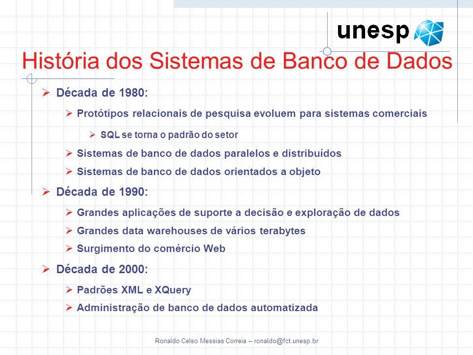 Ronaldo Celso Messias Correia – ronaldo@fct.unesp.br História dos Sistemas de Banco de Dados Década de 1980: Protótipos relacionais de pesquisa evolue