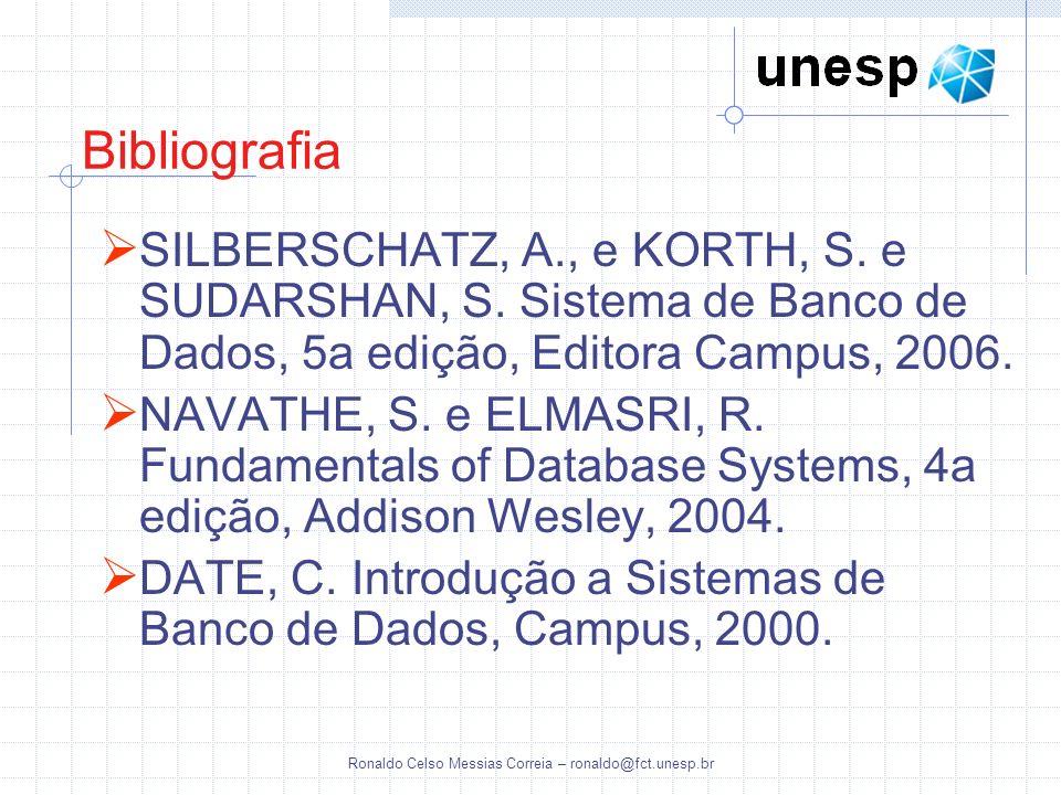 Ronaldo Celso Messias Correia – ronaldo@fct.unesp.br Bibliografia SILBERSCHATZ, A., e KORTH, S. e SUDARSHAN, S. Sistema de Banco de Dados, 5a edição,