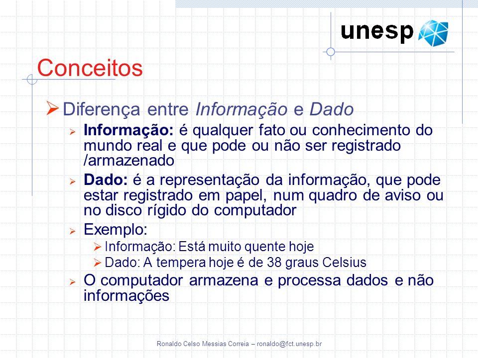 Ronaldo Celso Messias Correia – ronaldo@fct.unesp.br Linguagens de Banco de Dados Linguagem de Definição de Dados (DDL) Permite especificar o esquema do banco de dados, através de um conjunto de definições de dados O compilador DDL do SGBD processa e identifica os os comandos, que são armazenados no catálogo (metadados) Linguagem de Manipulação de Dados (DML) Permite ao usuário acessar ou manipular os dados Uma consulta (query) é um comando que requisita uma recuperação de informação A parte de uma DML que envolve recuperação de informação é chamada linguagem consulta DMLs procedurais: exigem que o usuário especifique quais dados são necessários, e como obtê-los Algebra Relacional SQL DMLs não procedurais: exigem que o usuário especifique quais dados são necessários, sem especificar como obtê-los Cálculo Relacional