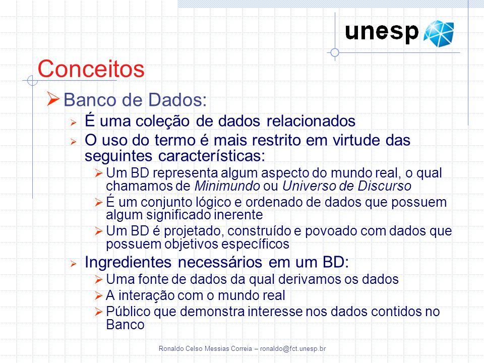 Ronaldo Celso Messias Correia – ronaldo@fct.unesp.br Uma coletânea de conceitos que podem ser utilizados para descrever a estrutura de um banco de dados (tipos de dados, relacionamentos e restrições) e também um conjunto de operações básicas para especificar recuperações e atualizações no banco de dados Modelo de Dados - Categorias: Modelos de dados conceituais (alto nível) Possuem conceitos que descrevem os dados como os usuários os percebem: entidades, atributos e relacionamentos Modelos lógicos baseados em objetos Modelos de dados representacionais (ou de implementação) Descrevem a forma como os dados estão organizados dentro do computador Modelos lógicos baseados em registros Modelos de dados físicos (baixo nível) Descrevem detalhes de como os dados estão armazenados no computador Modelo de Dados